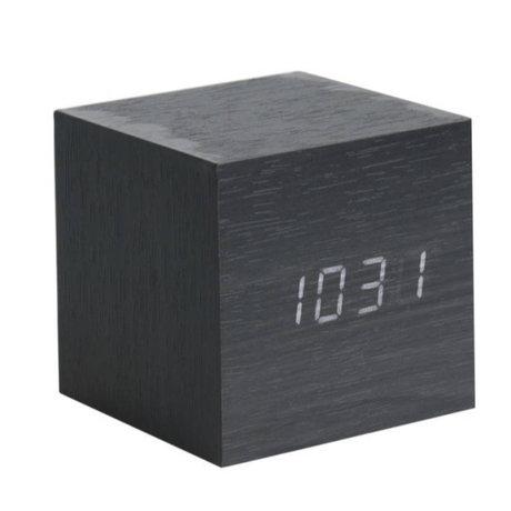 Karlsson Tisch / Wecker Cube schwarz Holz 8x8cm