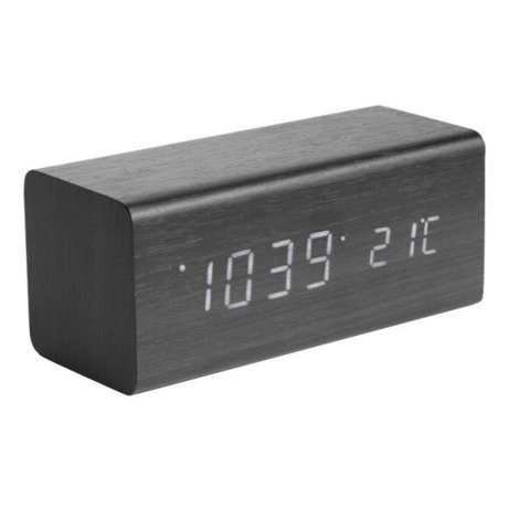 Karlsson Table / Alarm Clock Block black wood 7.2x16cm