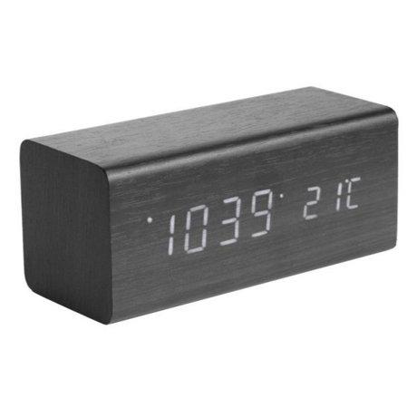 Karlsson Tafel/Alarm klok Block zwart hout 7,2x16cm