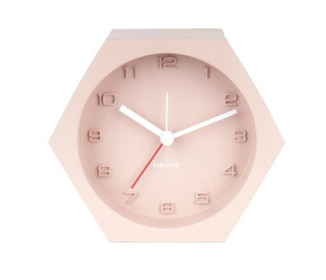 Karlsson Alarm clock Hexagon pink concrete 10x11,5cm