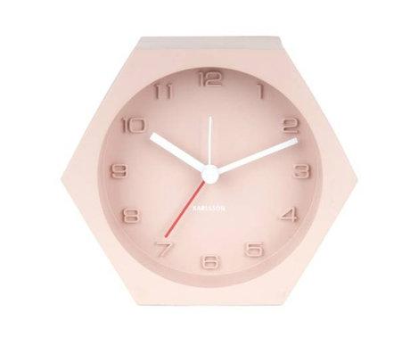 Karlsson Alarm klok Hexagon roze beton 10x11,5cm