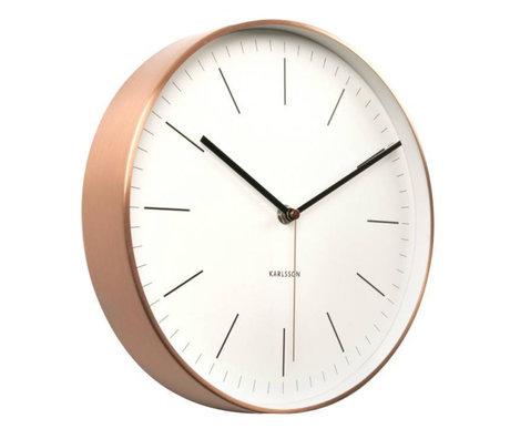 Karlsson Horloge murale en acier minimal cuivre blanc Ø27,5cm