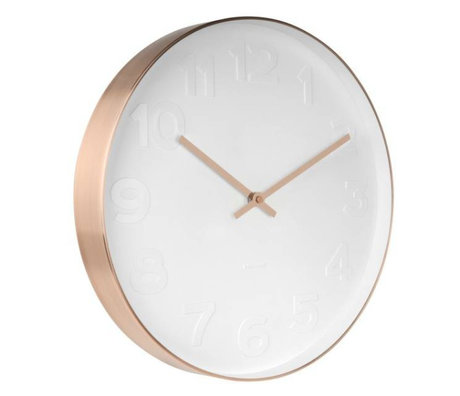 Karlsson Wall clock Mr. White copper white steel Ø37,5cm