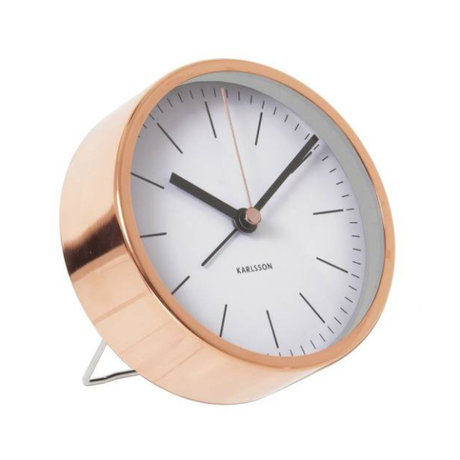 Karlsson Alarm klok Minimal wit koper staal Ø10cm