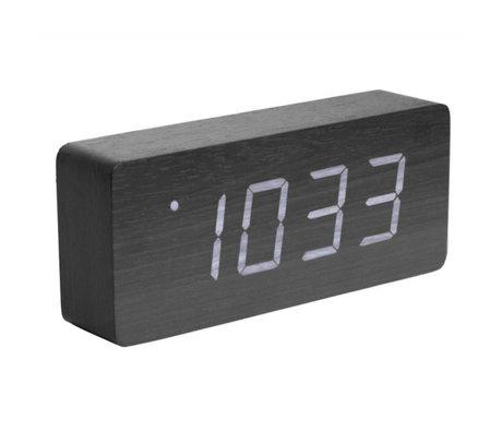Karlsson Table / Réveil Tube noir bois 9x21cm