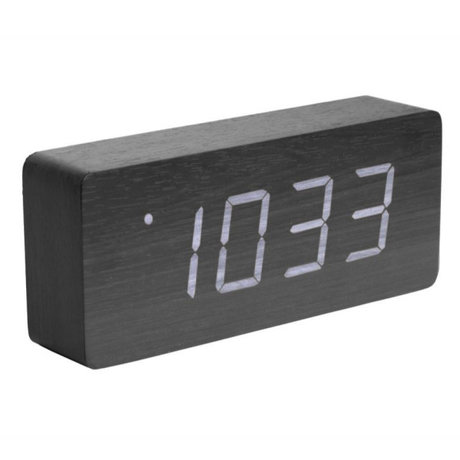 Karlsson Table / Alarm clock Tube black wood 9x21cm