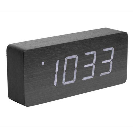 Karlsson Tafel/Alarm klok Tube zwart hout 9x21cm