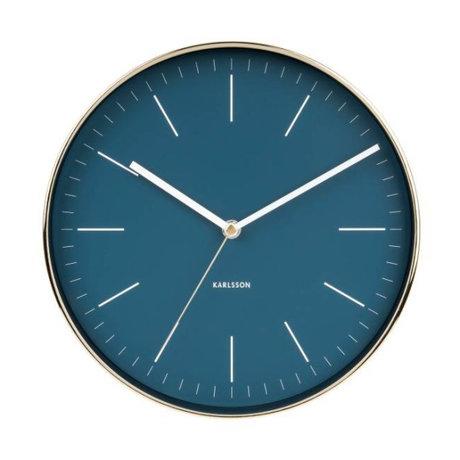 Karlsson Horloge murale Minimal acier doré bleu Ø27,5cm