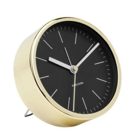 Karlsson Alarm clock Minimal black gold steel Ø10cm