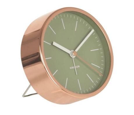 Karlsson Réveil acier cuivre vert minimal Ø10cm
