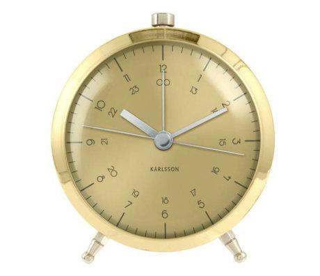 Karlsson Horloge murale Ø9cm acier or Bouton