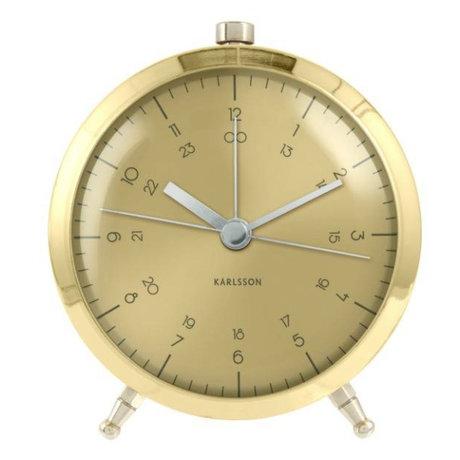 Karlsson Wandklok Button goud staal Ø9cm
