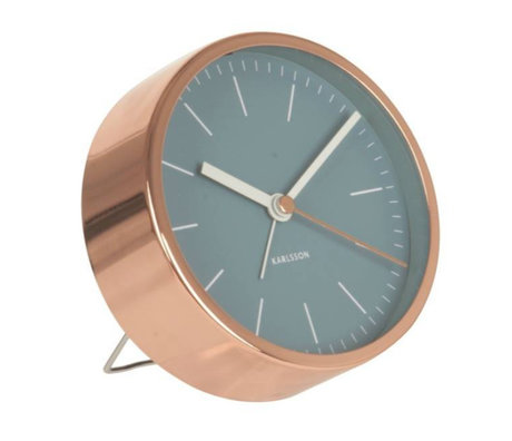 Karlsson Alarm clock Minimal blue copper steel Ø10cm
