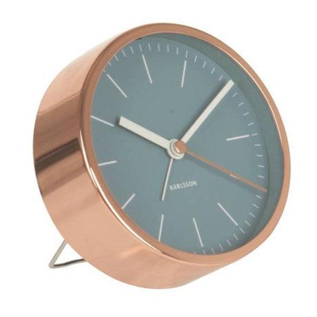 Karlsson Alarm klok Minimal blauw koper staal Ø10cm
