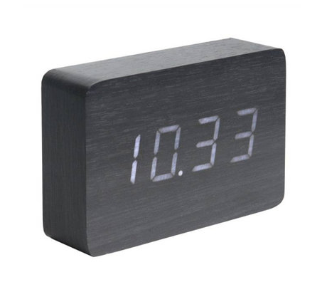 Karlsson Table / Alarm clock Square black wood 10x15cm