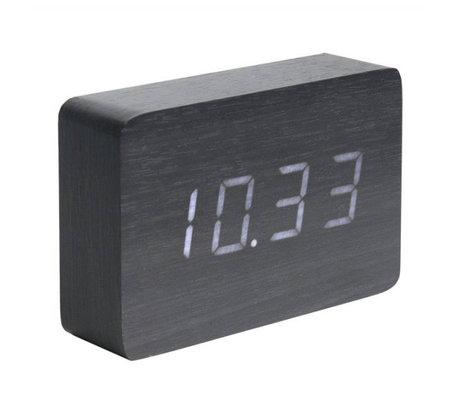 Karlsson Tafel/Alarm klok Square zwart hout 10x15cm