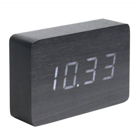 Karlsson Tisch / Wecker Square schwarz Holz 10x15cm
