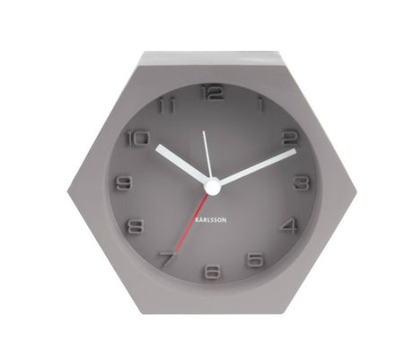 Karlsson Alarm clock Hexagon gray concrete 10x11,5cm