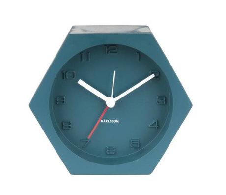 Karlsson Réveil Hexagone bleu 10x11,5cm béton