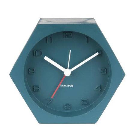 Karlsson Alarm clock Hexagon blue concrete 10x11,5cm