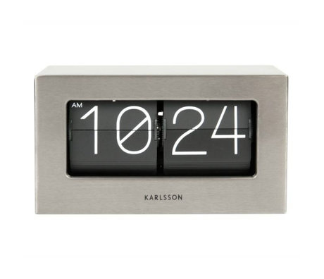 Karlsson Flip clock Boxed silver steel 11x21cm