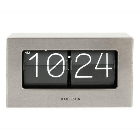 Karlsson acier argent Flip Clock Boxed 11x21cm