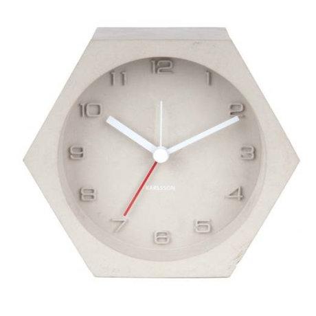 Karlsson Alarm clock Hexagon light gray concrete 10x11,5cm