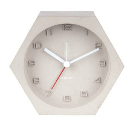 Karlsson Alarm klok Hexagon licht grijs beton 10x11,5cm