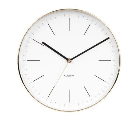 Karlsson Horloge murale en acier Minimal or blanc Ø27,5cm