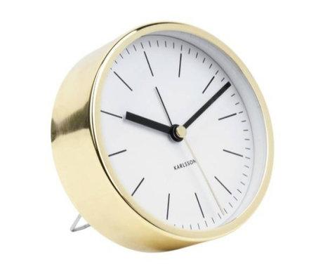 Karlsson Alarm klok Minimal wit goud staal Ø10cm