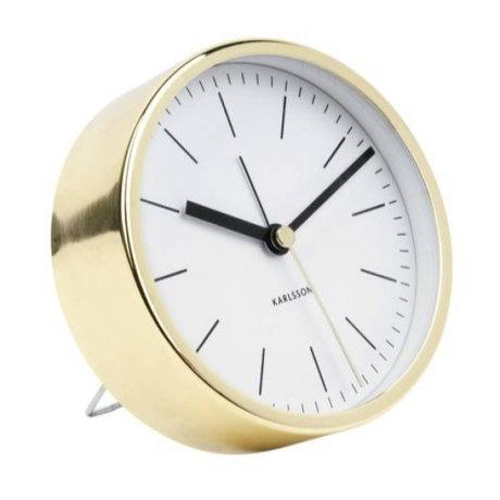 Karlsson Alarm clock Minimal white gold steel Ø10cm