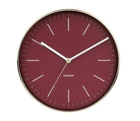 Karlsson Horloge murale acier or rouge minimal Ø27,5cm
