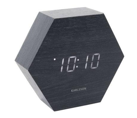 Karlsson Table / Réveil Hexagone bois noir 11x13cm