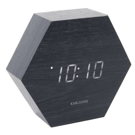 Karlsson Table / Alarm clock Hexagon black wood 11x13cm