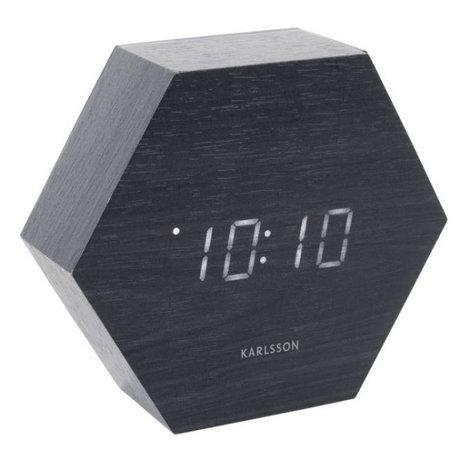 Karlsson Tafel/Alarm klok Hexagon zwart hout 11x13cm