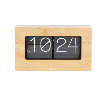 Karlsson Flip Clock Boxed Bambusholz 11x21cm
