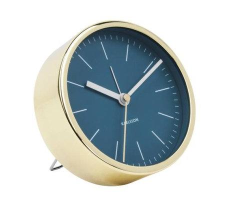 Karlsson Alarm clock Minimal blue gold steel Ø10cm
