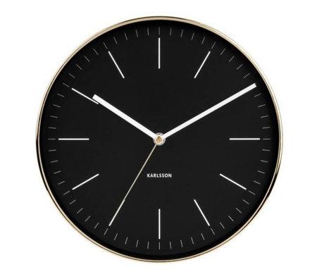 Karlsson Horloge murale acier or noir minimal Ø27,5cm