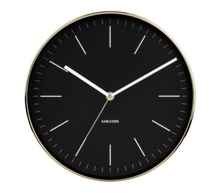Karlsson Wall clock Minimal black gold steel Ø27.5cm