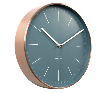 Karlsson Horloge murale en acier cuivre bleu minimal Ø27,5cm