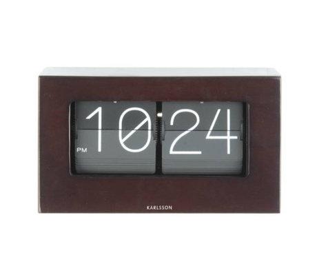 Karlsson Flip clock Boxed dark wood wood 11x21cm