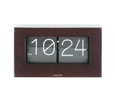 Karlsson Flip Clock Boxed dunklem Holz Holz 11x21cm