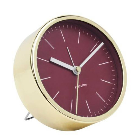 Karlsson Alarm clock Minimal red gold steel Ø10cm