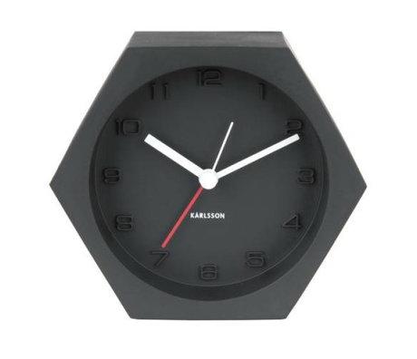 Karlsson Réveil Hexagone noir 10x11,5cm béton