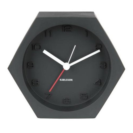 Karlsson Alarm clock Hexagon black concrete 10x11,5cm
