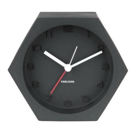 Karlsson Alarm klok Hexagon zwart beton 10x11,5cm