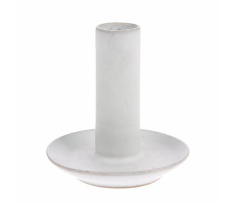 HK-living Candle holder L white ceramic 9x9x10cm