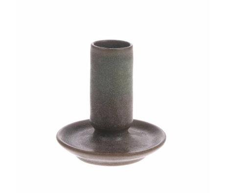 HK-living Kerzenhalter M braun Keramik 7x7x8cm
