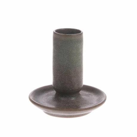 HK-living Bougeoir M en céramique marron 7x7x8cm