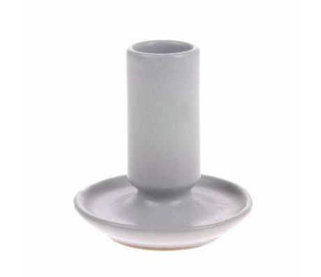 HK-living Kerzenhalter M grau Keramik 7x7x8cm